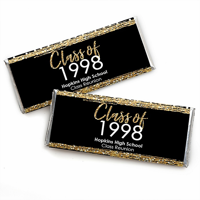 Reunited - Personalized Candy Bar Wrapper School Class Reunion Party Favors - Set of 24