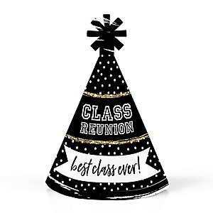 Reunited - Personalized Mini Cone School Class Reunion Party Hats - Small Little Party Hats - Set of 10
