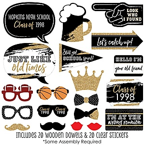 Reunited - 20 Piece School Class Reunion Party Photo Booth Props Kit