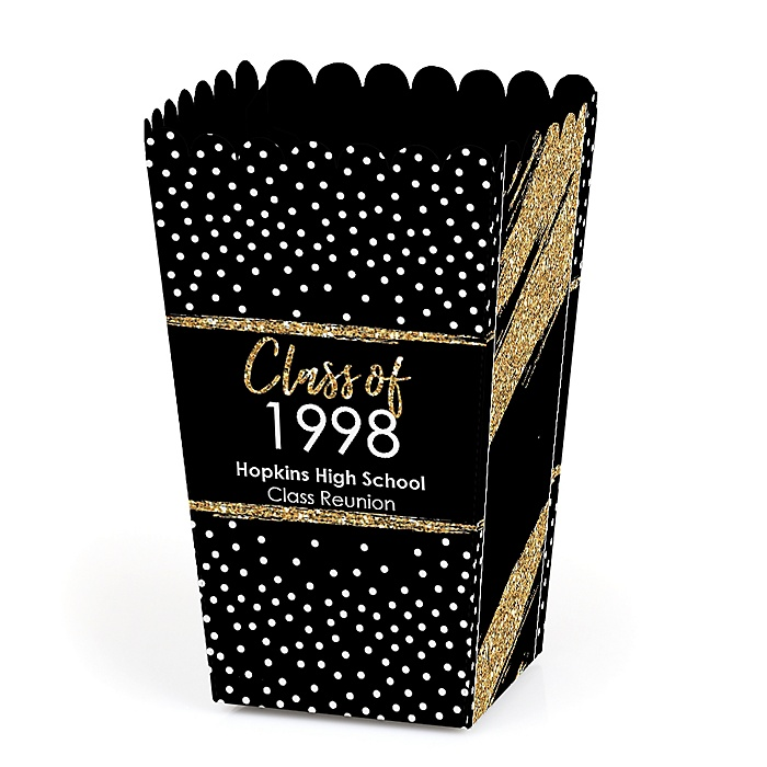 Reunited - Personalized School Class Reunion Party Popcorn Favor Treat Boxes - Set of 12
