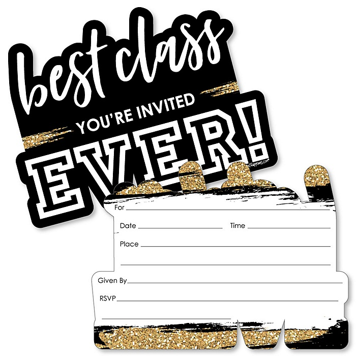 Reunited - Shaped Fill-In Invitations - School Class Reunion Party Invitation Cards with Envelopes - Set of 12