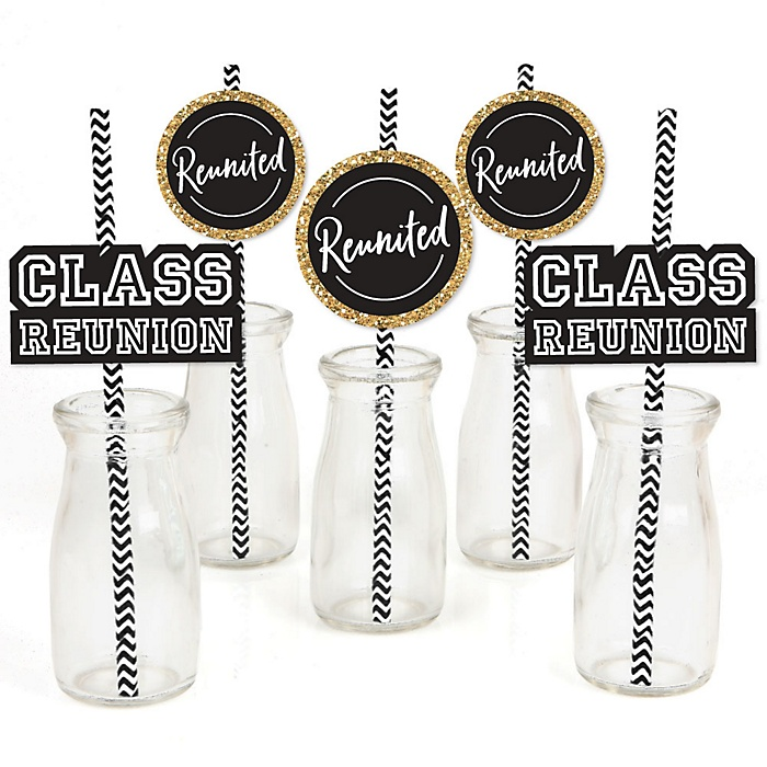 Reunited - Paper Straw Decor - School Class Reunion Party Striped Decorative Straws - Set of 24