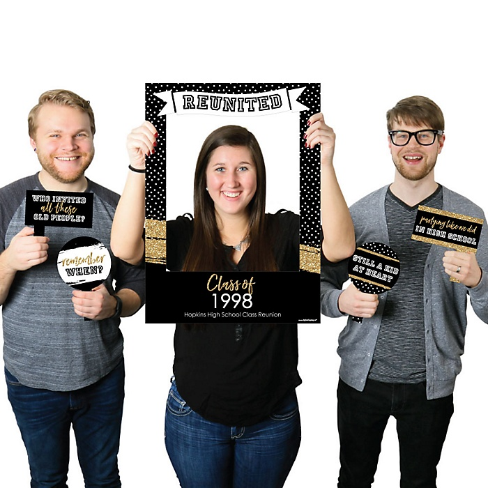 Reunited - Personalized School Class Reunion Party Selfie Photo Booth Picture Frame & Props - Printed on Sturdy Material