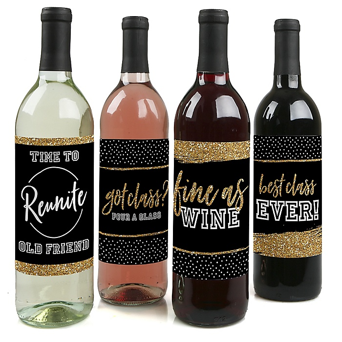 Reunited - School Class Reunion Party Decorations for Women and Men - Wine Bottle Label Stickers - Set of 4