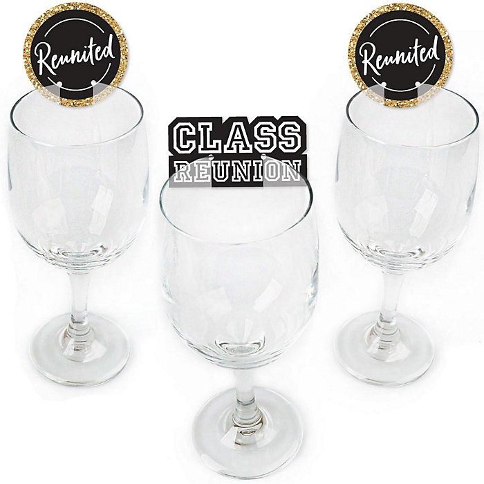 Reunited - Shaped School Class Reunion Party Wine Glass Markers - Set of 24
