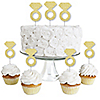 Gold Glitter Diamond Ring - No-Mess Real Gold Glitter Dessert Cupcake Toppers - Bridal Shower or Bachelorette Party Clear Treat Picks - Set of 24