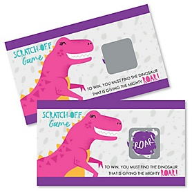 Roar Dinosaur Girl - Dino Mite T-Rex Baby Shower or Birthday Party Game Scratch Off Cards - 22 ct