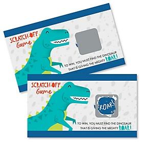 Roar Dinosaur - Dino Mite T-Rex Baby Shower or Birthday Party Game Scratch Off Cards - 22 ct