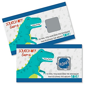 Roar Dinosaur - Dino Mite T-Rex Baby Shower or Birthday Party Game Scratch Off Cards - 22 ct