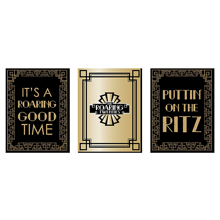 Roaring 20's - 1920s Wall Art, Room Decor and Art Deco Jazz Themed Room Home Decorations - 7.5 x 10 inches - Set of 3 Prints