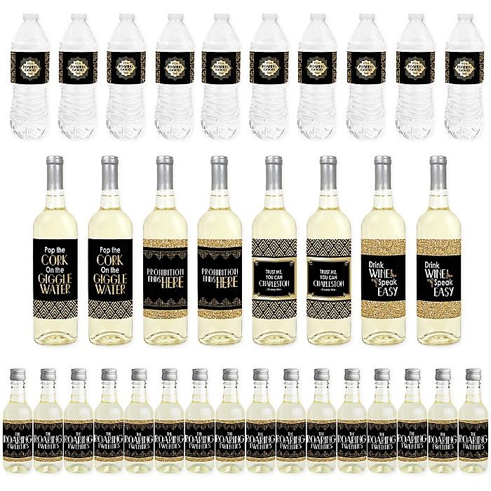 Roaring 20's - Mini Wine Bottle Labels, Wine Bottle Labels and Water Bottle Labels - 1920s Art Deco Jazz Party Decorations - Beverage Bar Kit - 34 Pieces