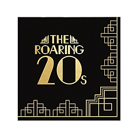 Roaring 20's with Gold Foil - 2020 Graduation and Prom Party Supplies - 1920s Art Deco Jazz Party - Cocktail Beverage Napkins (16 Count)