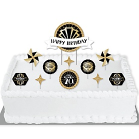 Roaring 20's - 1920s Art Deco Jazz Birthday Party Cake Decorating Kit - Happy Birthday Cake Topper Set - 11 Pieces