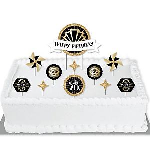Roaring 20's - 1920s Art Deco Jazz Birthday Party Cake Decorating Kit - Happy Birthday Cake Topper Set - 11 Pieces