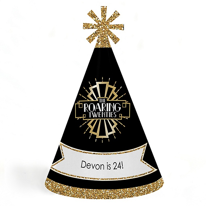 Roaring 20's - Personalized 1920s Art Deco Cone Birthday Party Hats for Kids and Adults - Set of 8 (Standard Size)