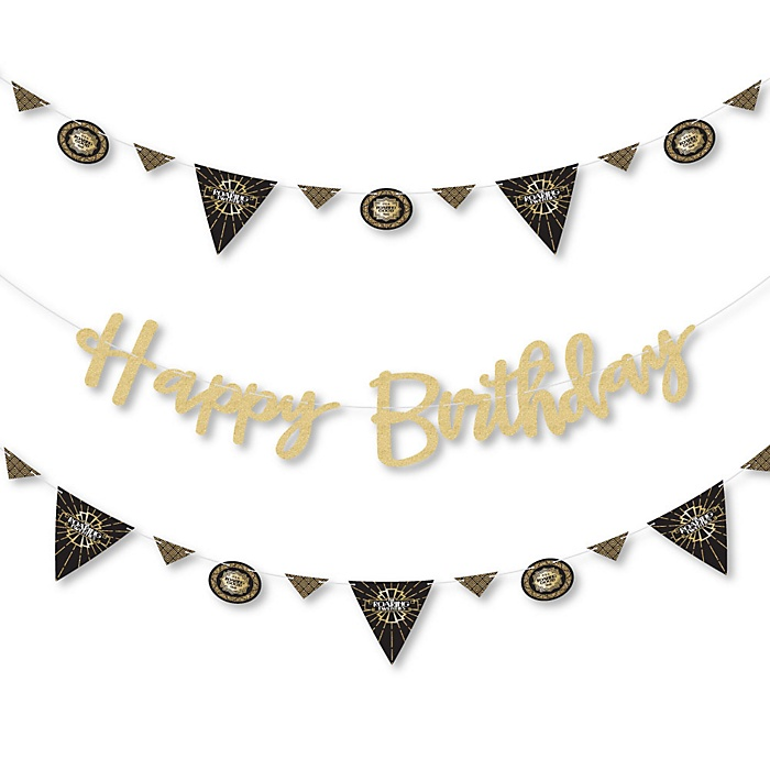 Roaring 20's - 1920s Art Deco Jazz Birthday Party Letter Banner Decoration - 36 Banner Cutouts and No-Mess Real Gold Glitter Happy Birthday Banner Letters