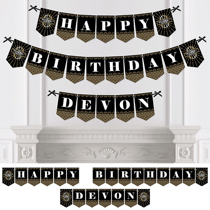 Roaring 20's - Personalized 1920s Art Deco Birthday Party Bunting Banner & Decorations