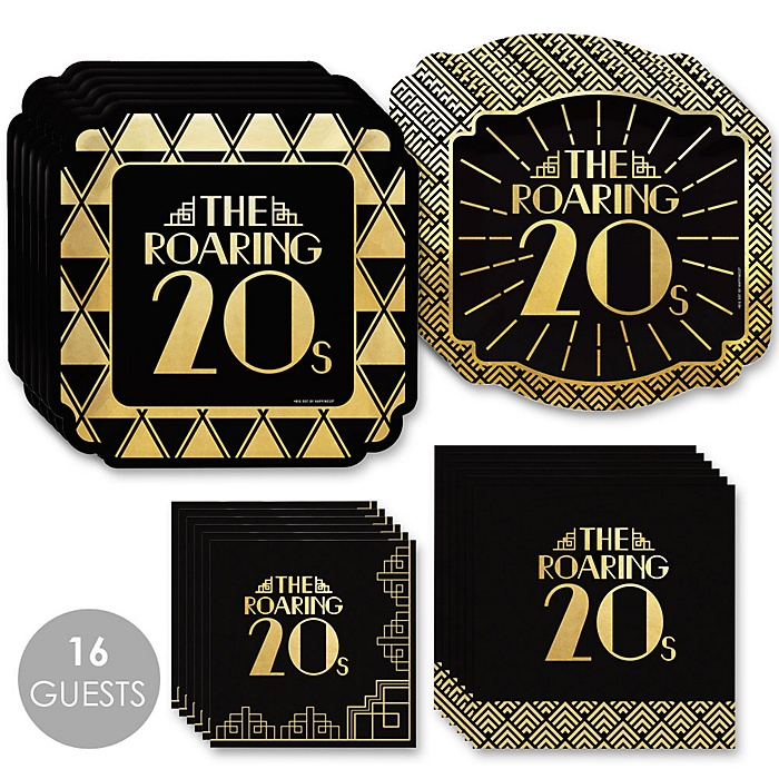 Roaring 20's with Gold Foil - 2020 Graduation Party Supplies - 1920s Art Deco Jazz Party - Election Party - Tableware Plates and Napkins - Bundle for 16