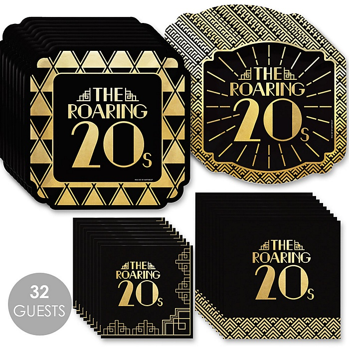Roaring 20's with Gold Foil - 2020 Graduation and Prom Party Supplies - 1920s Art Deco Jazz Party - Tableware Plates and Napkins - Bundle for 32