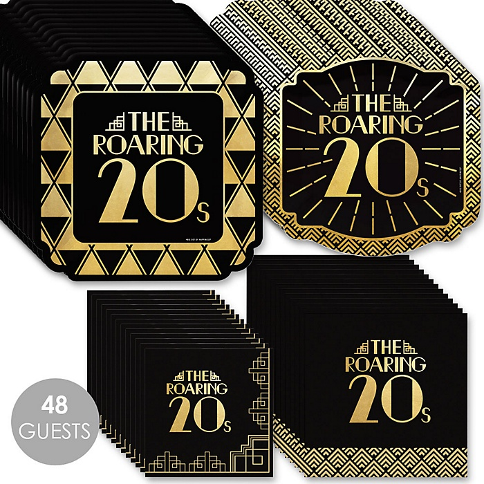 Roaring 20's with Gold Foil - 2020 Graduation and Prom Party Supplies - 1920s Art Deco Jazz Party - Tableware Plates and Napkins - Bundle for 48