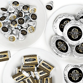 Roaring 20's - Mini Candy Bar Wrappers, Round Candy Stickers and Circle Stickers - 1920s Art Deco Jazz Party Candy Favor Sticker Kit - 2020 Graduation Party - 304 Pieces