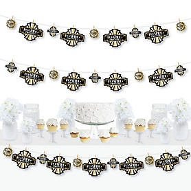 Roaring 20's - 1920s Art Deco Jazz Party DIY Decorations - Clothespin Garland Banner - 2020 Graduation Party - 44 Pieces