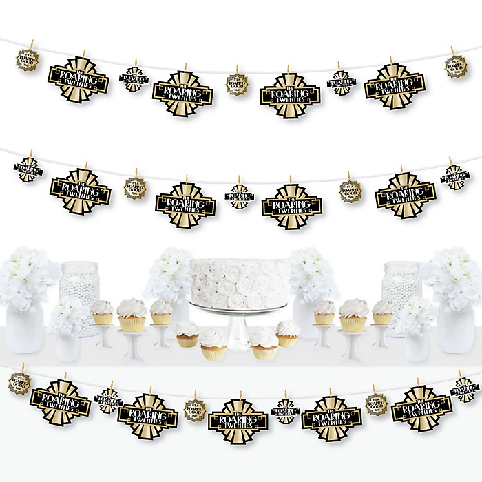 Roaring 20's - 1920s Art Deco Jazz Party DIY Decorations - Clothespin Garland Banner - 44 Pieces