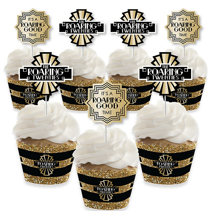Roaring 20's - Cupcake Decorations - 1920s Art Deco Jazz Party Cupcake Wrappers and Treat Picks Kit - 2020 Graduation Party - Set of 24