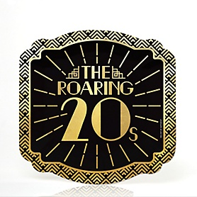 Roaring 20's with Gold Foil - 2020 Graduation and Prom Party Supplies - 1920s Art Deco Jazz Party - Dessert Plates (16 Count)