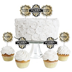 Roaring 20's - Dessert Cupcake Toppers - 1920s Art Deco Jazz Party Clear Treat Picks - 2020 Graduation Party - Set of 24