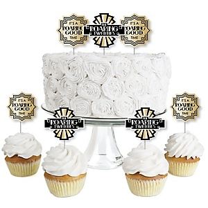 Roaring 20's - Dessert Cupcake Toppers - 1920s Art Deco Jazz Party Clear Treat Picks - Set of 24