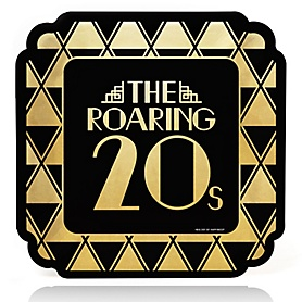 Roaring 20's with Gold Foil - 2020 Graduation and Prom Party Supplies - 1920s Art Deco Jazz Party - Dinner Plates (16 Count)