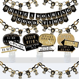 Roaring 20's - Banner and Photo Booth Decorations - 1920s Art Deco Jazz Party Supplies Kit - 2020 Graduation Party - 2020 Graduation Party - Doterrific Bundle
