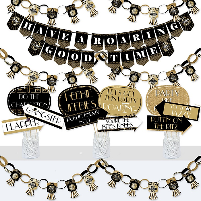 Roaring 20's - Banner and Photo Booth Decorations - 1920s Art Deco Jazz Party Supplies Kit - Doterrific Bundle