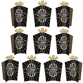 Roaring 20's - Table Decorations - 1920s Art Deco Jazz Party Fold and Flare Centerpieces - 10 Count