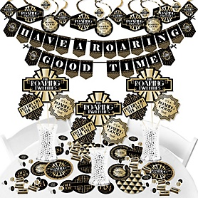 Roaring 20's - 1920s Art Deco Jazz Party Supplies - Banner Decoration Kit - 2020 Graduation Party - Fundle Bundle