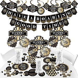 Roaring 20's - 1920s Art Deco Jazz Party Supplies - Banner Decoration Kit - Fundle Bundle