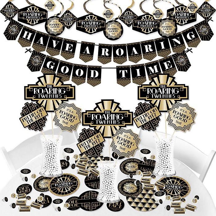 Roaring 20's - 1920s Art Deco Jazz Party Supplies - Banner Decoration Kit - Fundle Bundle