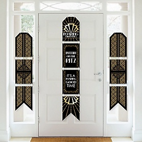 Roaring 20's - Hanging Vertical Paper Door Banners - 1920s Art Deco Jazz Party Wall Decoration Kit - Graduation Party - Indoor Door Decor