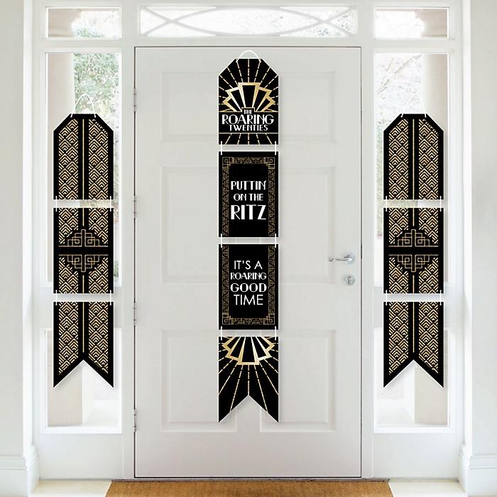 Roaring 20's - Hanging Vertical Paper Door Banners - 1920s Art Deco Jazz Party Wall Decoration Kit - Graduation Party - Indoor Door Decor