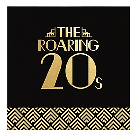 Roaring 20's with Gold Foil - 2020 Graduation and Prom Party Supplies - 1920s Art Deco Jazz Party - Luncheon Napkins (16 Count)