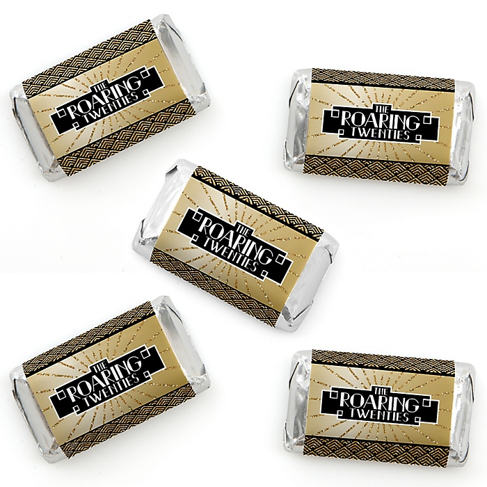Roaring 20's - Mini Candy Bar Wrapper Stickers - 1920s Art Deco Jazz Party Small Favors - 40 Count