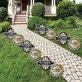 Roaring 20's - 1920s Art Deco Jazz Lawn Decorations - 2020 Graduation Party - Outdoor Yard Art Decorations - 10 Piece