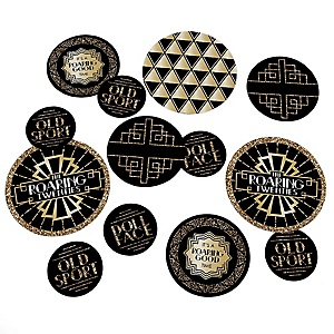 Roaring 20's - 1920s Art Deco Jazz Giant Circle Confetti - Twenties Party Decorations - Large Confetti 27 Count