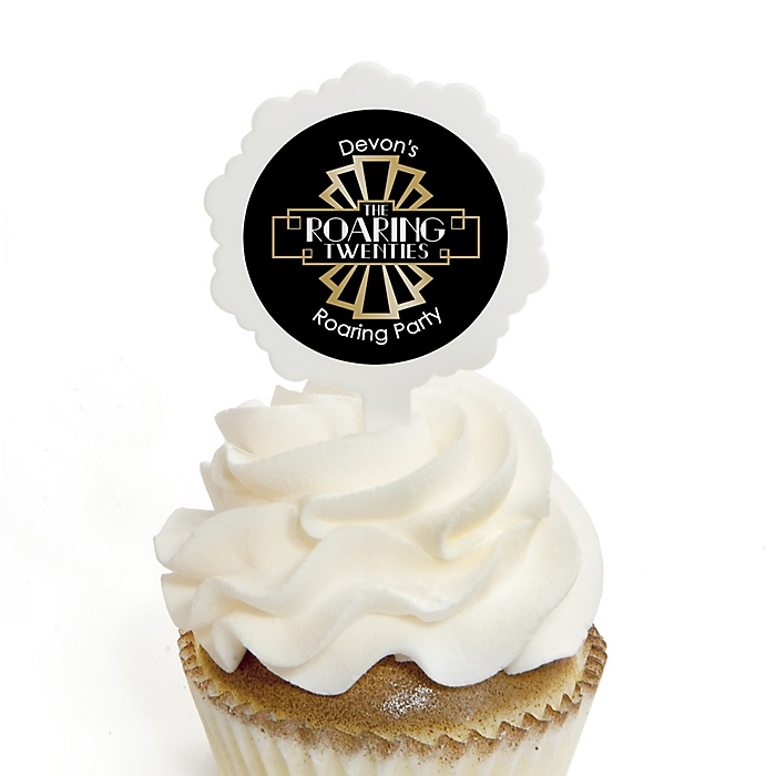 Roaring 20's - 12 Cupcake Picks & 24 Personalized Stickers - 1920s Art Deco Party Cupcake Toppers