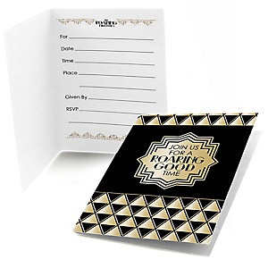 Roaring 20's - Set of 8 Fill In 1920s Art Deco Jazz Party Invitations