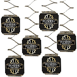 Roaring 20's - 1920s Art Deco Jazz Party Hanging Decorations - 6 Count