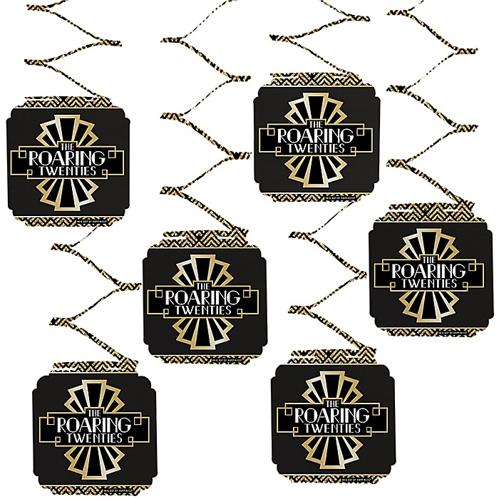 Roaring 20's - 1920s Art Deco Jazz Party Hanging Decorations - 2020 Graduation Party - 6 Count