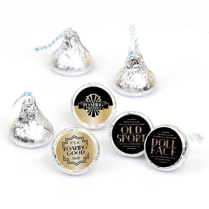 Roaring 20's - Round Candy Labels 1920s Art Deco Jazz Party Favors - Fits Hershey's Kisses - 108 ct
