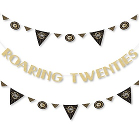 Roaring 20's - 1920s Art Deco Jazz Party Letter Banner Decoration - 2020 Graduation Party - 36 Banner Cutouts and No-Mess Real Gold Glitter Roaring Twenties Banner Letters